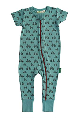 (Parade Organics Signature Print '2-Way' Zip Romper - Short Sleeve Teal Bicycles 0-3 Months)