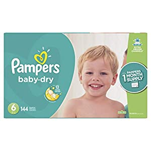 Diapers Size 6, 144 Count – Pampers Baby Dry Disposable Baby Diapers, ONE MONTH SUPPLY (Packaging May Vary)