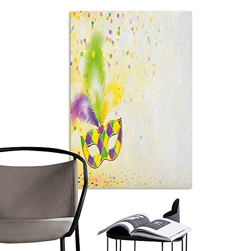 Wall Mural Wallpaper Stickers Mardi Gras Festival Mask with Ornamental Feathers Colorful Dots Confetti Party Yellow Green Purple Sofa Background Wall W24 x H36]()