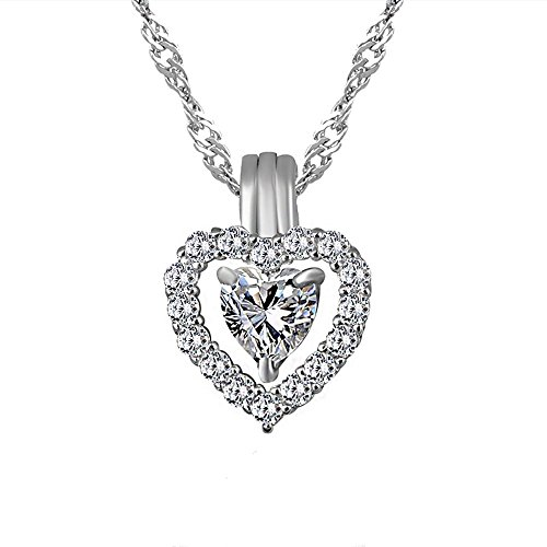 Isijie Jewelry 925 Sterling Silver Plated Love Pendant Crystal Necklace(Three methods of wearing) by Isijie Jewelry