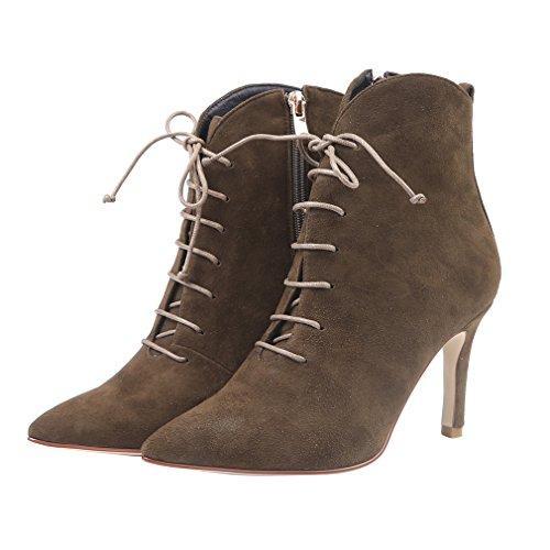 Enmayer Mujeres High Heels Zapatos De Punta Estrecha Para Mujer Solid Zip Shallow Stiletto Botines Army Green