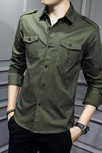 XTAPAN Men's Casual Slim Fit Shirt Cotton Long Sleeve Button Down Dress Shirt 5
