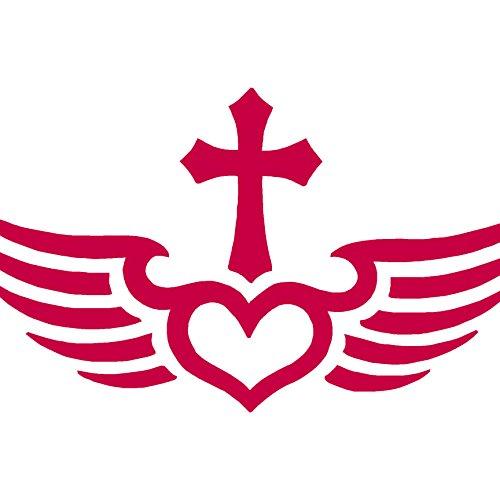 1032 Red Kitchen (Winged Heart Cross - Vinyl Decal Sticker - 7