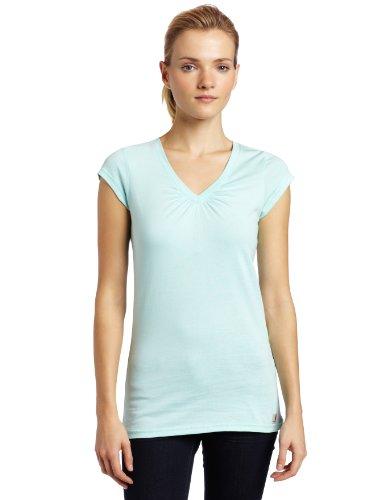 (Carhartt Women's Cap Sleeve Vneck T-Shirt,Sea Spray (Closeout),)