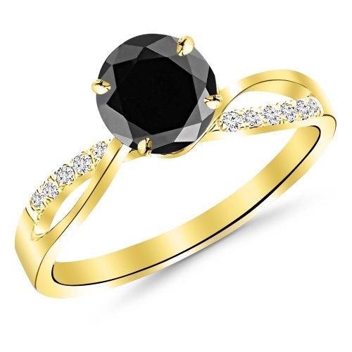 2.08 Carat Elegant Twisting Split Shank Diamond Engagement Ring 14K Yellow Gold with a 2 Carat Round Cut AAA Quality Black Diamond (Heirloom Quality) 2 Ct Diamond Solitaire Engagement Ring