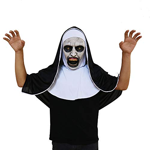 (DICPOLIA Toys Halloween Costume Creepy Mask, Cosplay Horror Cosplay Scary Horrible Nun Latex Mask,Horrific Eyed Squint Props,Ugly Toothy Zombie Ghost Scary)