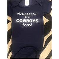 Daddy and I are Dallas Cowboys fans baby bodysuit infant one piece handmade handcrafted