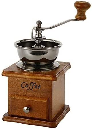 DHINGM Hand Grinder, Retro Coffee Grinder, Pure Wooden Base with Drawers, Super Convenient, Easy to Operate, With Ceramic Core, Easy to Clean, No Metal Smell, Avoid Heat and Affect The Taste