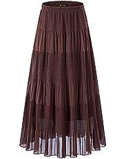 NASHALYLY Long Chiffon Skirts Women, Maxi Skirts Bohemian Ankle Length Beach Skirt Plus Size.