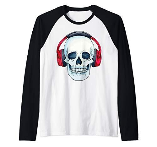 Headphone Skull Electronic Halloween Musician gamer DJ Gift Raglan Baseball Tee