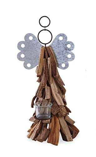 Mud Pie Large Driftwood Angel Votive Holder