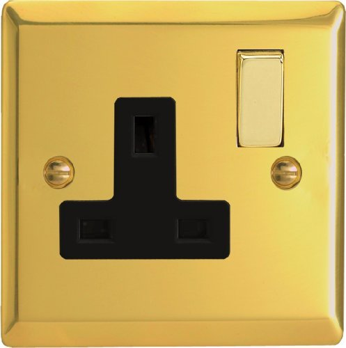 Varilight - 1 Gang 13 Amp Single Switched Socket Victorian Brass - XV4DB by Varilight