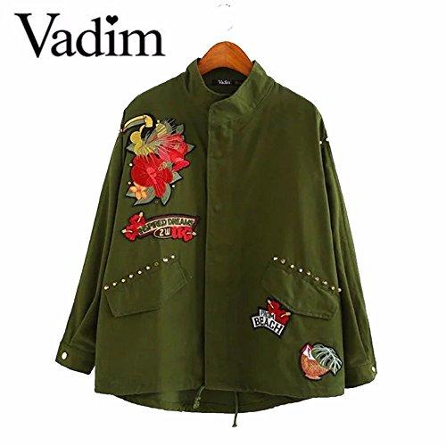 女性用ワッペン付きジャケット_Army Green_Lの商品画像