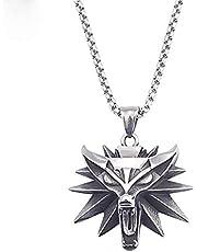 ASFSD Heren Witcher 3 roestvrij staal Wolf hoofd ketting hanger met 316L ketting, geschikt voor unisex charme sieraden geschenken