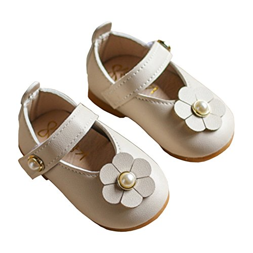 Toddler Girls Pearls Flowers Princess Dress Shoes Mary Jane Ballet Flat Shoes Beige Size 15