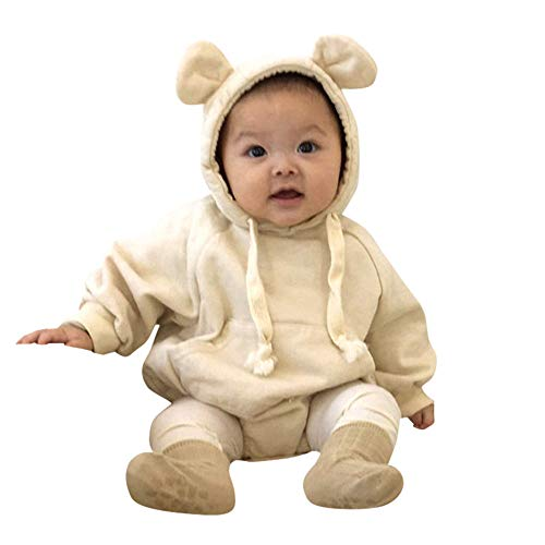 Newborn Baby Girl Boy Pajamas PJS Hooded Romper Infant Hoodie Bodysuit Clothes