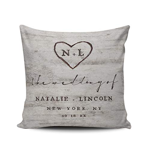 WULIHUA Throw Pillow Cases Sofa Cushion Cover Home Decoration Carved Sweethearts Rustic Birch Wedding Monogram European Custom Pillowcase Size 26X26 Inch Simple and Elegant Double Sides Printed