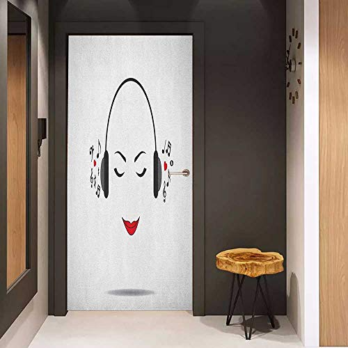 Onefzc Front Door Sticker Music Young Lady Listening to Music Earphones Smiling Close Eyed Girl Enjoy Melody Theme for Home Decor W31 x H79 Black White