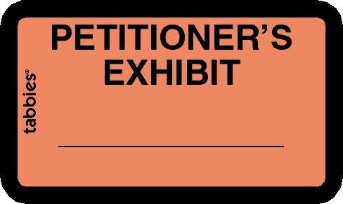 """Tabbies® Exhibit Labels, Petitioner's Exhibit Orange, 1-5/8"""" x 1"""", 252 labels per package"""