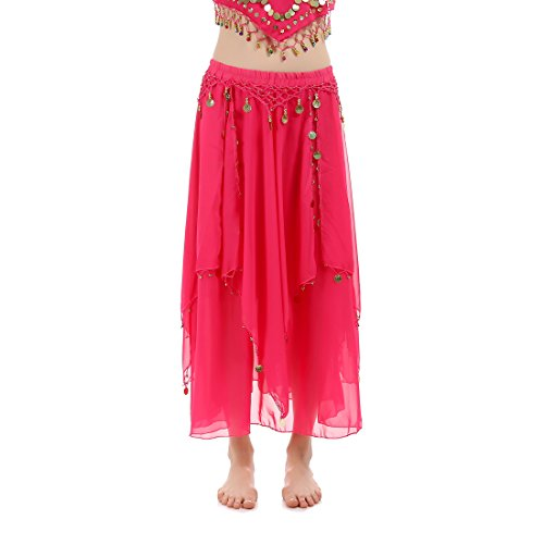 JEANSWSB Lightspot Belly Dance Long Pants 120D Chiffon Indian Costume Trousers Adult (Pink Indian Sari Adult Costume)