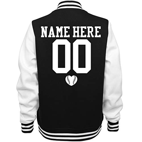 Customized Girl Cute Baseball Girlfriend Name: Ladies Fleece Letterman Varsity Jacket Black/White