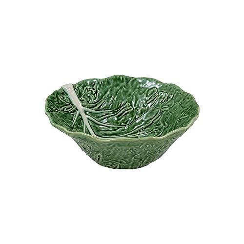 Bordallo Pinheiro Green Cabbage Leaf Deep Salad Serving Bowl, Majolica