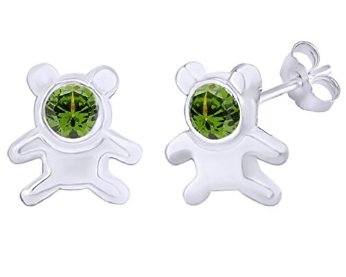 Teddy Ring 14k Bear (Mothers Gift Simulated Peridot Cute Teddy Bear Stud Earrings 14K White Gold Over Sterling Silver)