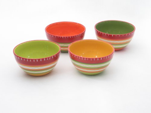 Certified International Hot Tamale Ice Cream Bowl, Set of 4 Assorted Designs