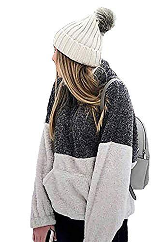 (Alelly Women's Long Sleeve 1/4 Zip Pullover Jacket Outwear Sweatshirt Winter Coat)
