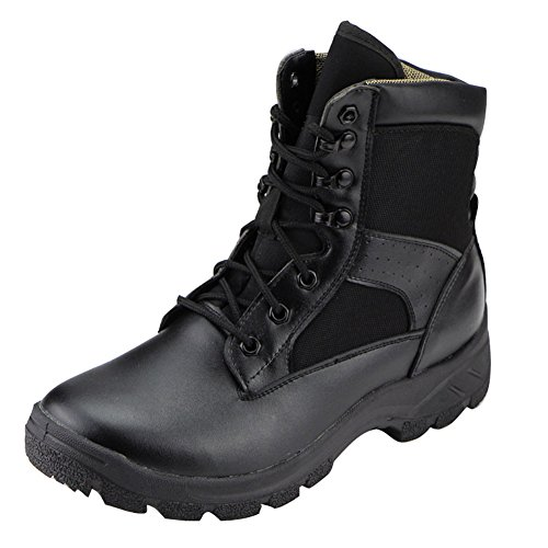 Aiyuda Men's Military Tactical Combat Boots Waterproof Outdoor Jungle Ankle Boot Black Leather