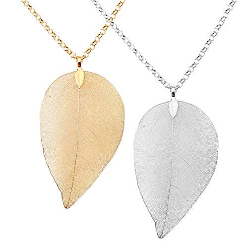 SUMAJU 2 pcs Leaf Pendant Necklace,Hypoallergenic Fashion Long Leaf Necklaces Real Natural Filigree Pendant Necklaces for Women Girls 5/8' No Leaf Pendant