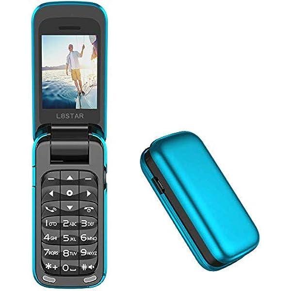 L star Small Mini Flip Cell Phone MP Magic Voice Changer Bluetooth Dialer Music Cellphone BM Blue