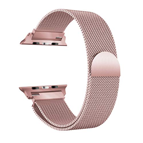 Price comparison product image BIYATE Compatible with 42mm 44mm Apple Watch Band, Sport Stainless Steel Milanese Mesh with Magnetic Clasp Replacement Band Strap Bracelet Accessories for Series 1 2 3 4 Rose Gold