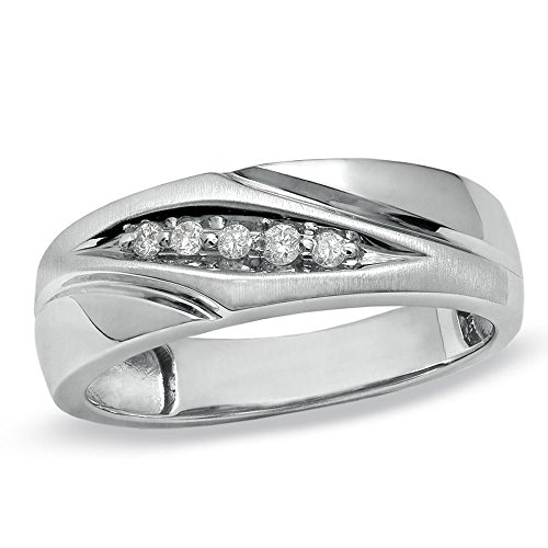 Silvernshine Jewels 1/10 Cts Round Sim. Diamond Slant Wedding Band Ring With 14K White Gold Plated by Silvernshine Jewels