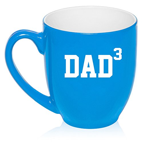 16 oz Large Bistro Mug Ceramic Coffee Tea Glass Cup DAD x3 Cubed Father Of 3 (Light Blue)