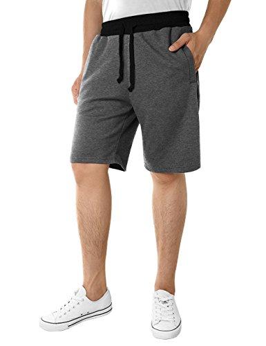 HEMOON Men's Gym Sweatpants, Color Contrast Summer Loose Pocket Short L Dark Grey Classic Knit Sweatpants