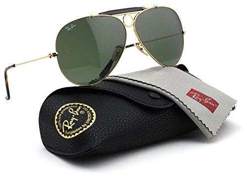 Ray-Ban RB3138 SHOOTER Unisex Aviator Sunglasses (Havana Gold Frame / Dark Green Lens 181, - Shooter Sunglasses