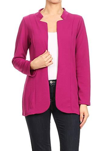 MissMissy Womens Open Front Inward Flat Notch Lapel Blazers Long Sleeve Stretch Box Jackets J7030 (3X-Large, Magenta)