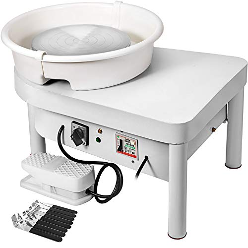 Mophorn Pottery Wheel 25CM Pottery Forming Machine 350W Electric Wheel for Pottery with Foot Pedal and Detachable Basin Easy Cleaning for Ceramics Clay Art Craft DIY