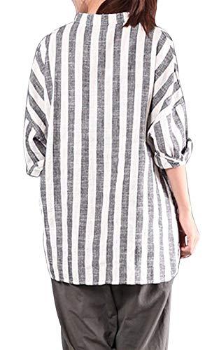 Mode Cou Mode Fourcher Style Shirts V Loisir Irrgulier Shirt Rayures Jeune Manches Chemise Confortable Bouffant Blouse Spcial Femme Lin 4 Elgante Grau 3 Et qwEaPC1W