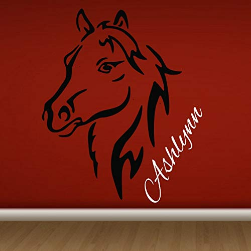 Girl Silouette (Diuangfoong Horse Head Silouette Decal W Name Wall Vinyl Sticker Girls Room Native American Beautiful Wild Horse I Love Horses Baby Girl Nursery Pony)