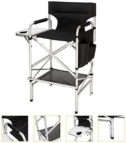 Mefeir Tall Director Makeup Artist Chair Bar Height, Aluminum Frame Supports 300 lbs, Folding Portable with Side Table Storage Bag Black 33.8 L x 19.2 W x 45.6 H
