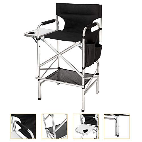 Mefeir Upgraded Director Makeup Artist Chair Bar Height, Aluminum Frame Supports 300 lbs, Folding Portable with Side Table Storage Bag Black 33.8 L x 19.2 W x 45.6 H