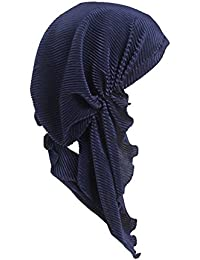 Womens Chemo Hat Pre Tied Ruffle Head Scarves Turban Headwear for Cancer