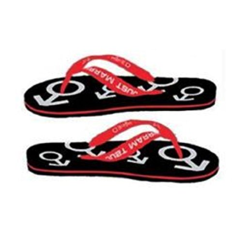 JUST MARRIED FLIP FLOPS [Mens Red & Black (8-10)] qiUIqTO