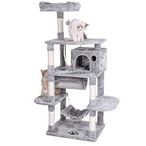 BEWISHOME Cat Tree Condo Furniture Kitten Activity Tower Pet Kitty Play House with Scratching Posts Perch Hammock Tunnel…