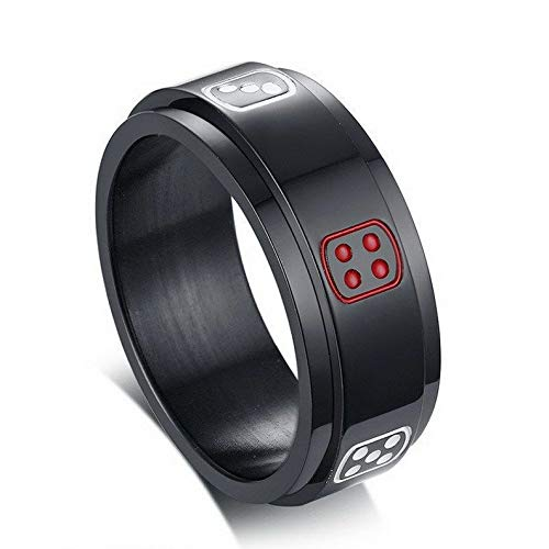 (Crookston Stylish Spinner Black Stainless Steel Lucky Dice Charm Finger Rings Gift Sz 7-12 | Model RNG - 29712 | 11)