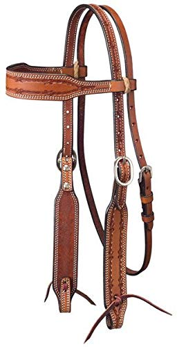 Tough-1 Leather Wide Brow Headstall w/ Barbed Wire Detail - Med. Oil ()