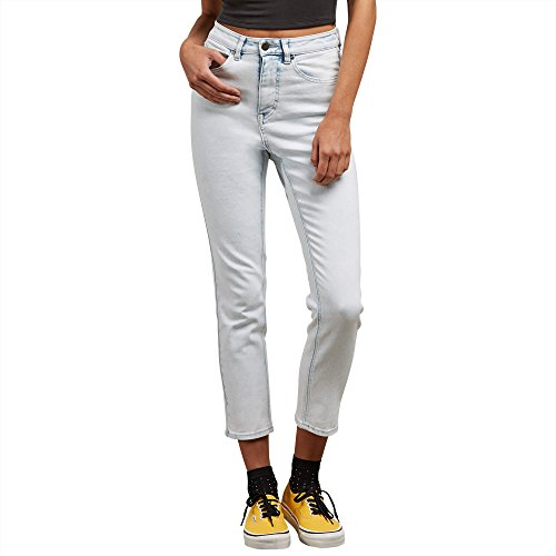 Volcom Junior's Vol Stone High Rise Girlfriend Jean, Sun Faded Indigo, 28 Volcom Ladies Jeans