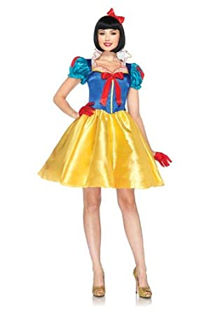 Leg Avenue Disney 2Pc Classic Snow White Costume Dress With Bow Head Piece Blue